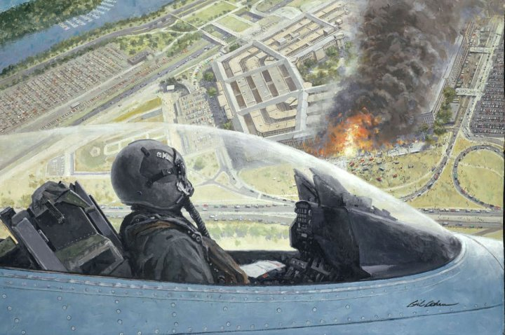 Painting of a North Dakota Air Guard 119th Fighter Wing F-16 on a combat air patrol over the burning Pentagon on 11 September 2001
