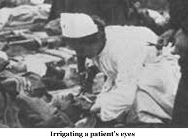Irrigating a patient's eyes