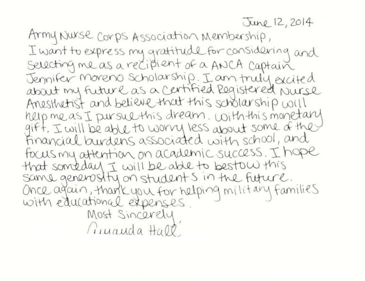 Amanda Hall Scholarship Thank-you ltr