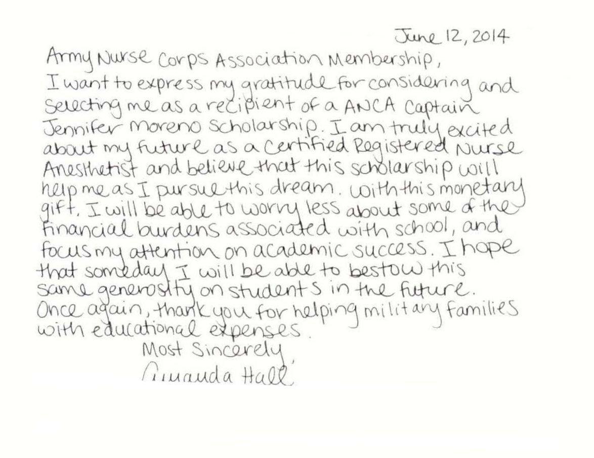 Amanda Hall Scholarship Thank You Ltr